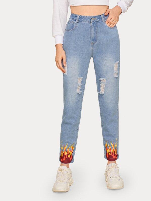 Fire Print Ripped Jeans, Aleksandra J