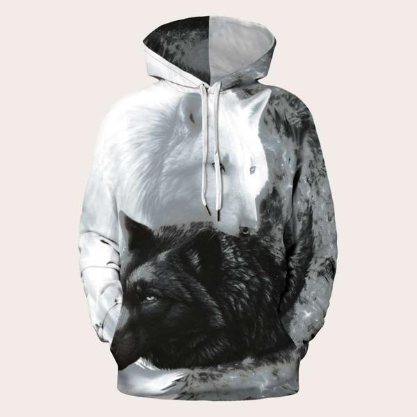 Men 3D Wolf Print Drawstring Hooded Sweatshirt, Black and white
