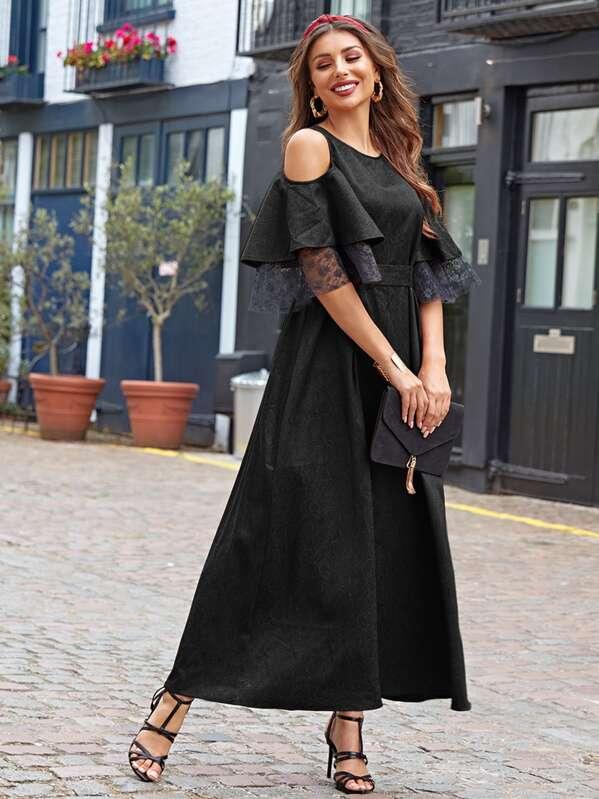 Cold Shoulder Lace Trim Jacquard Belted Dress, Amira S