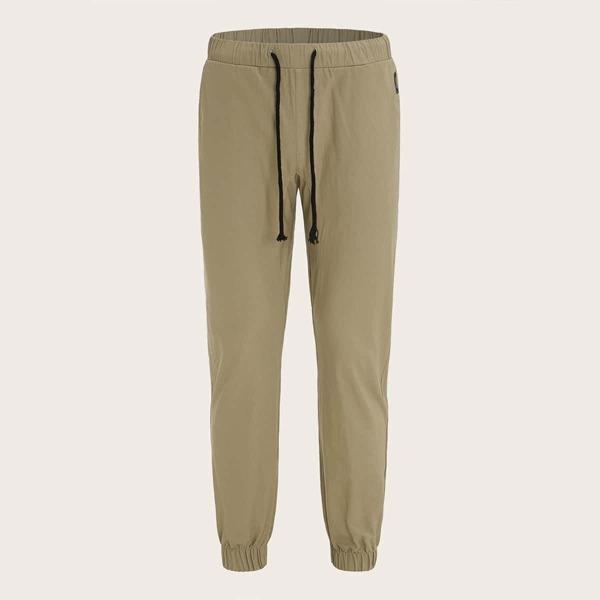 Men Drawstring Waist Patch Detail Pants, Khaki