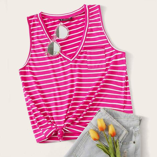 Neon Pink Pocket Front Striped Tank Top