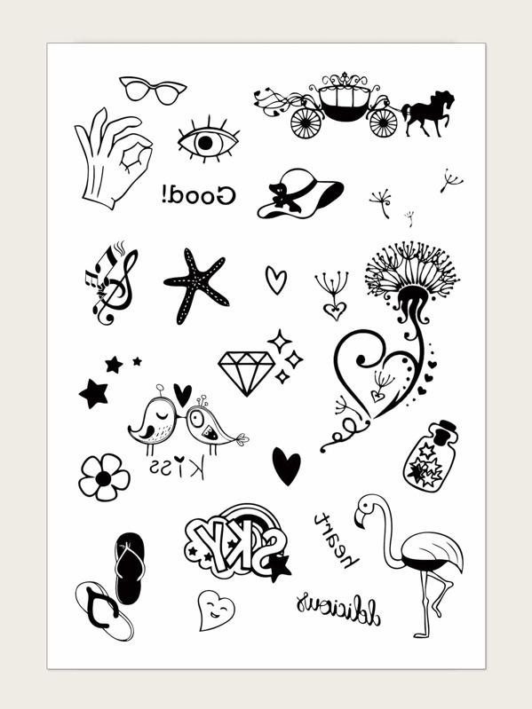 Starfish & Flamingos Pattern Tattoo Sticker 1sheet