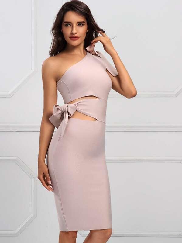 Adyce One Shoulder Knotted Slit Hem Bandage Dress