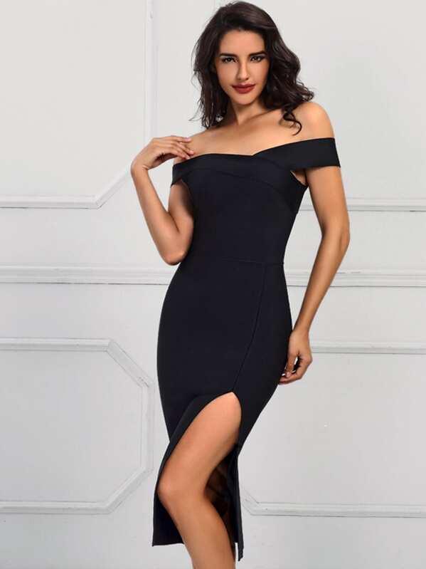 Adyce Slit Hem Bardot Bandage Dress