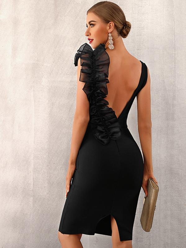 Adyce Exaggerate Ruffle Slit Hem Bandage Dress