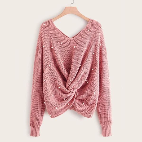 Plus Pearl Beaded Criss-cross Twist Sweater