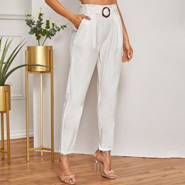 Vertical Striped Paperbag Waist Belted Pants, White