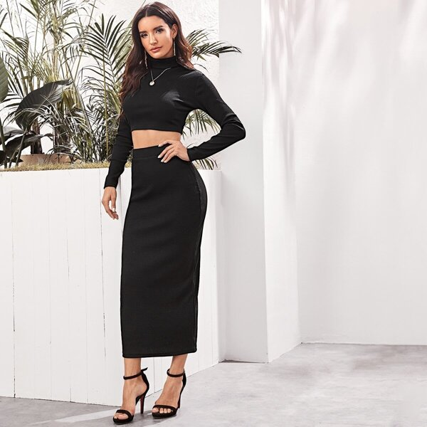 High Neck Rib-knit Crop Top & Pencil Sweater Skirt Set