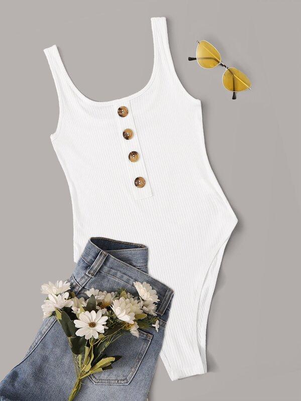 Button Front Rib-knit Tank Bodysuit