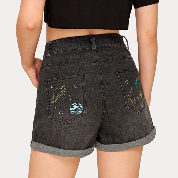 Rolled Hem Cartoon Embroidery Denim Shorts