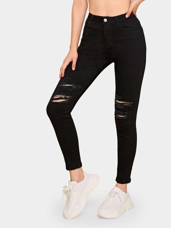 Button Fly Ripped Skinny Jeans, Aleksandra J
