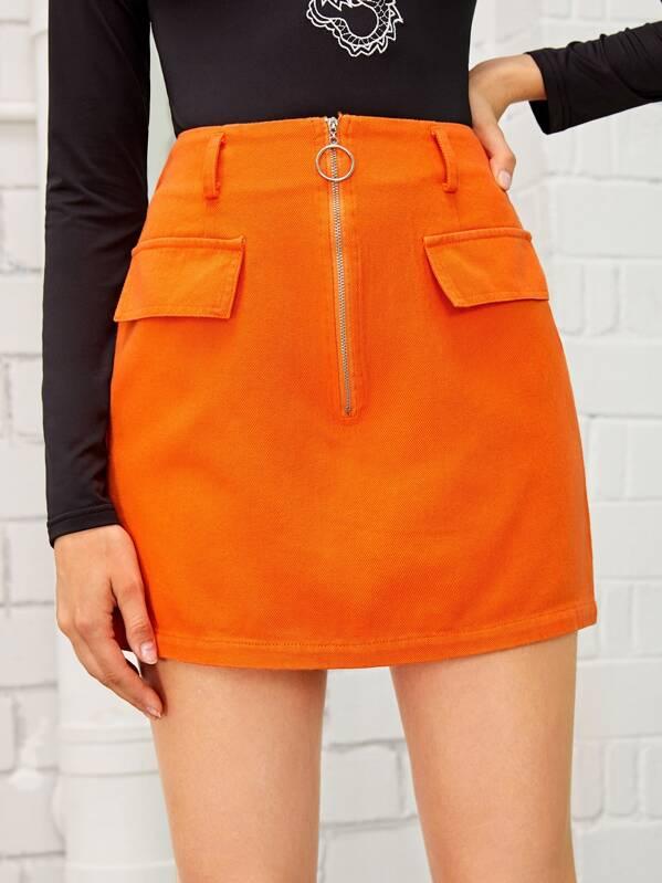 Neon Orange O-ring Zip Front Denim Skirt, Nikola