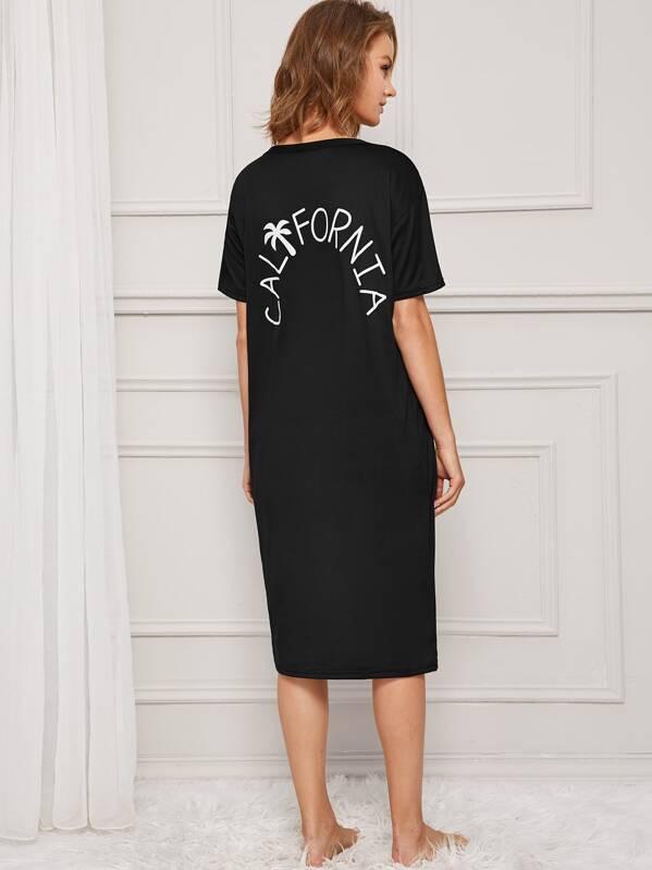 Palm Tree & Letter Print Night Dress, Rasa