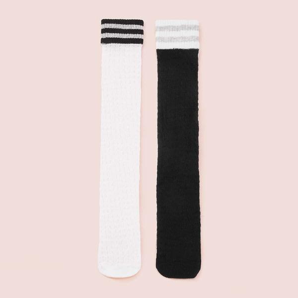 Kids Knee Length Socks 2pairs, Black and white