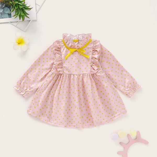 Baby Girl Polka Dot Frill Neck Babydoll Dress