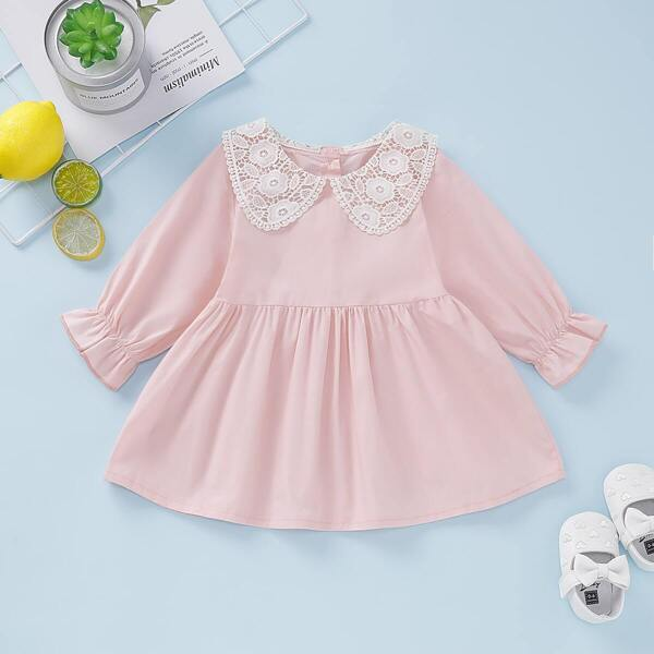 Baby Girl Lace Panel Peter Pan Smock Dress