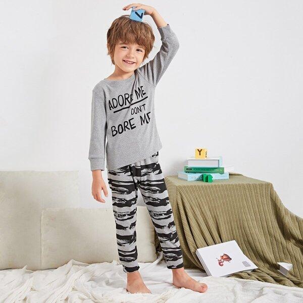 Toddler Boys Slogan Print Pajama Set