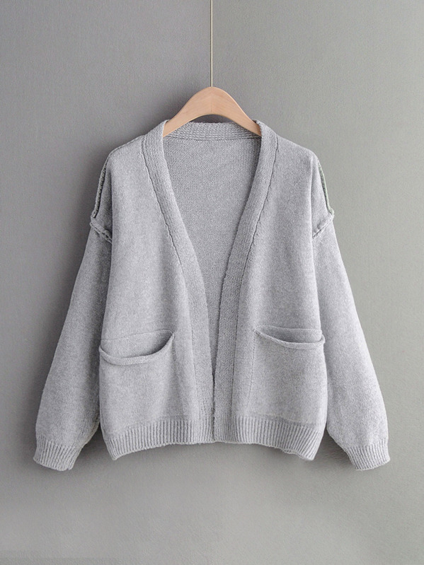 Open Front Dual Pocket Solid Cardigan