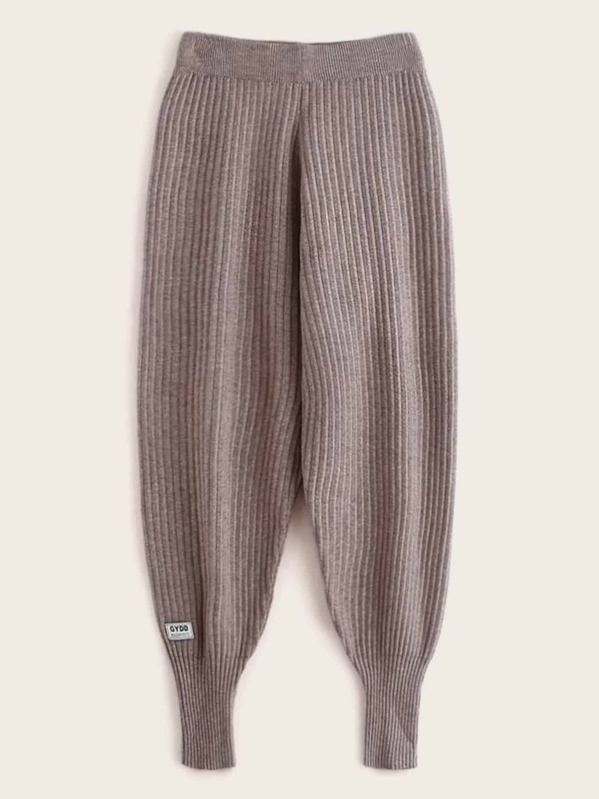 Patched Rib-knit Carrot Sweater Pants