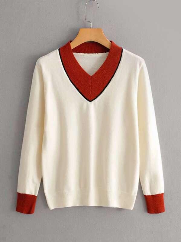 Contrast Binding V Neck Sweater