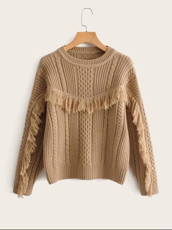 Solid Fringe Embellished Cable Knit Sweater
