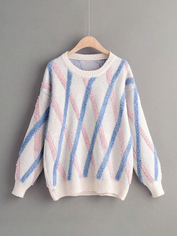 Drop Shoulder Diagonal Striped Knit Sweater