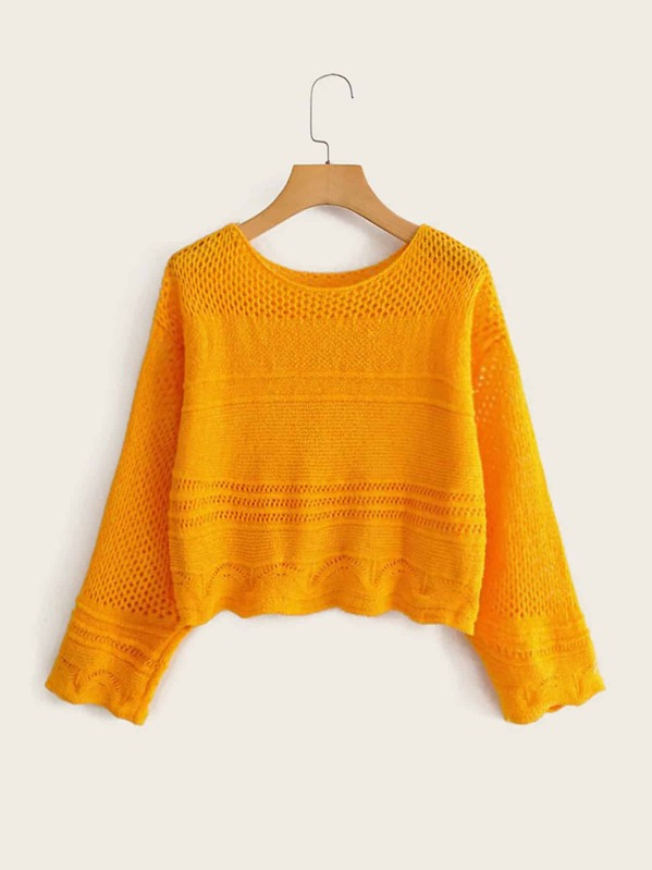 Drop Shoulder Solid Hollow Knit Sweater