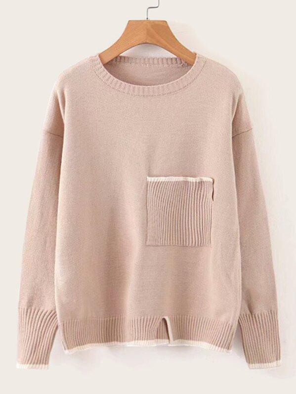 Drop Shoulder Patched Pocket Slit Hem Sweater