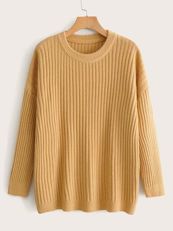 Drop Shoulder Solid Rib-knit Sweater