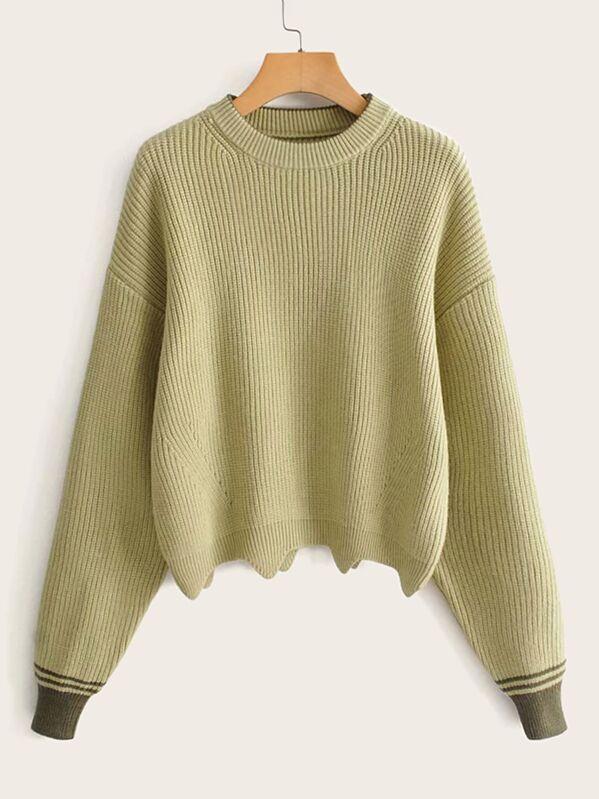 Drop Shoulder Striped Cuff Wave Edge Hem Sweater