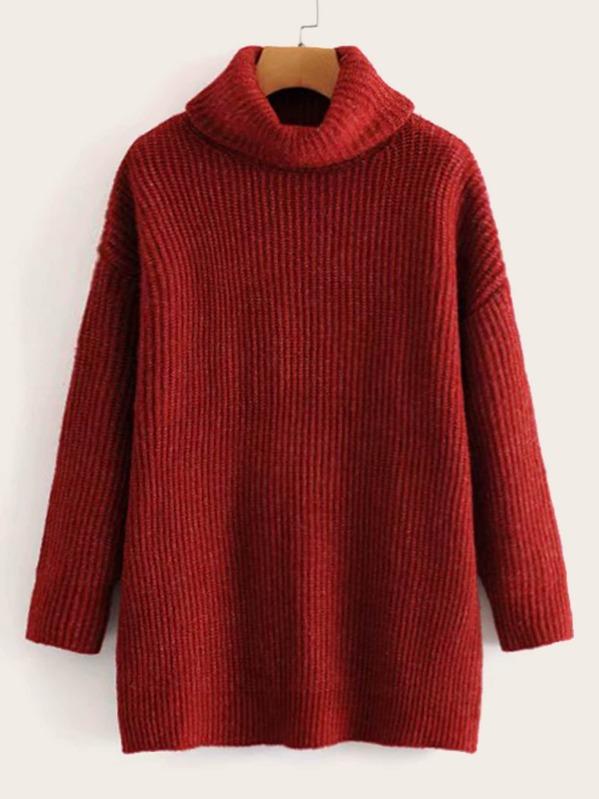 High Neck Drop Shoulder Rib-knit Sweater