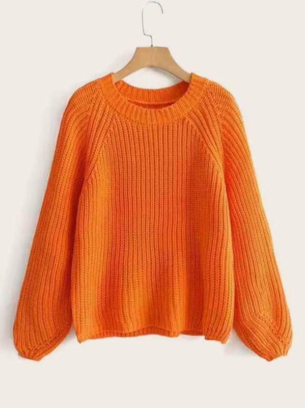 Solid Raglan Sleeve Rib-knit Sweater