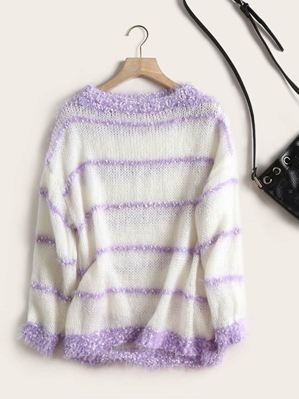 Drop Shoulder Contrast Striped Fluffy Sweater