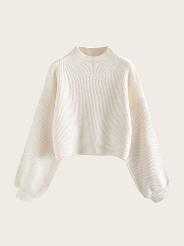 Stand Collar Drop Shoulder Solid Sweater