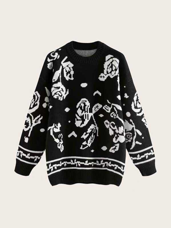 Drop Shoulder Floral And Striped Pattern Sweater