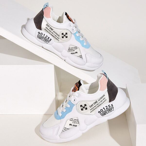 Lace-up Front Letter Print Mesh Sneakers