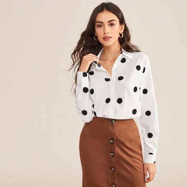 Polka Dot Button Through Blouse, White