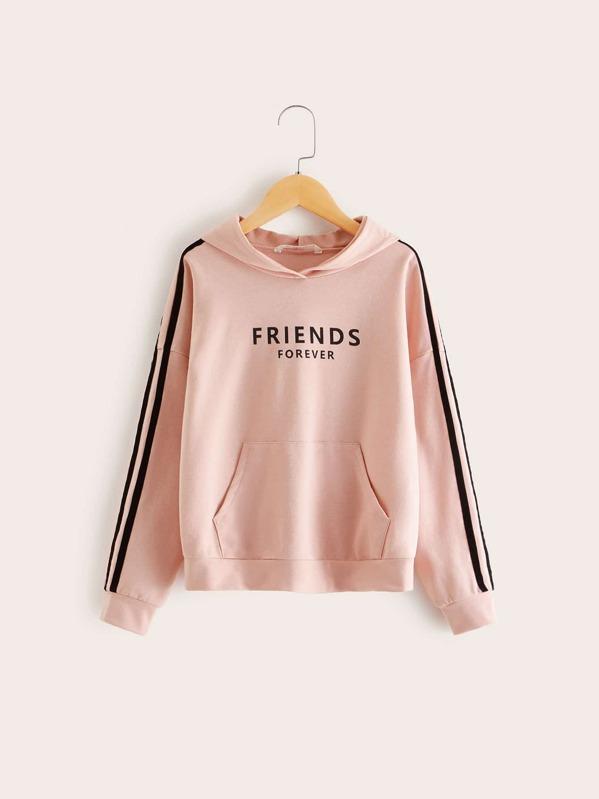 Girls Slogan Print Striped Side Pocket Front Hoodie, Pink