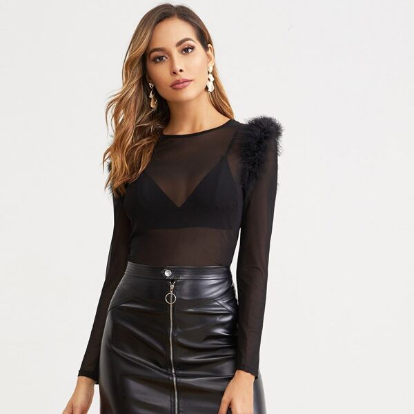 Faux Feather Trim Mesh Top Without Bra