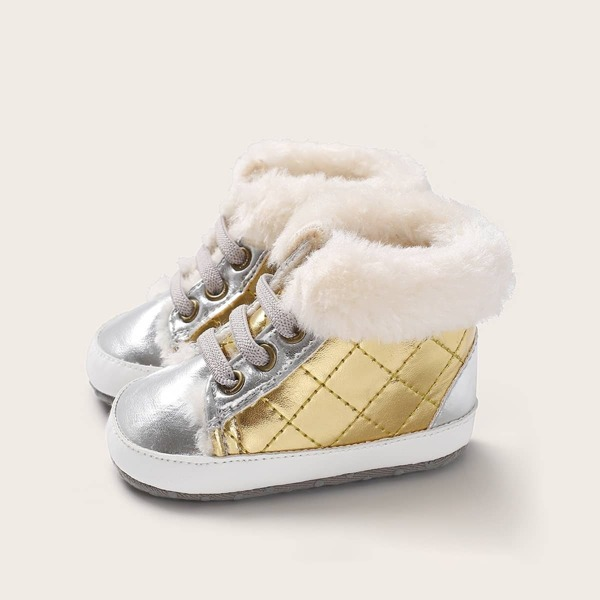 Baby Metallic Faux Fur Decor Boots