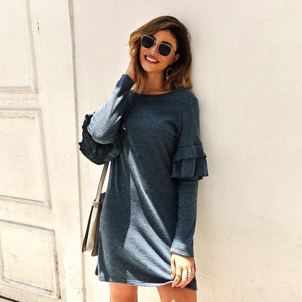 Space Dye Tiered Layer Ruffle Sweater Dress