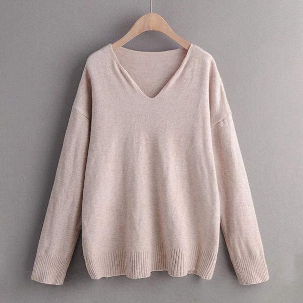 V-neck Drop Shoulder Solid Sweater