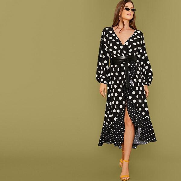 Polka Dot Ruffle Trim Wrap Dress With PU Belt