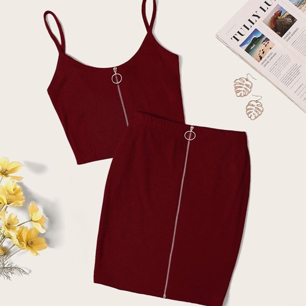O-ring Zipper Rib-knit Cami Top & Skirt Set