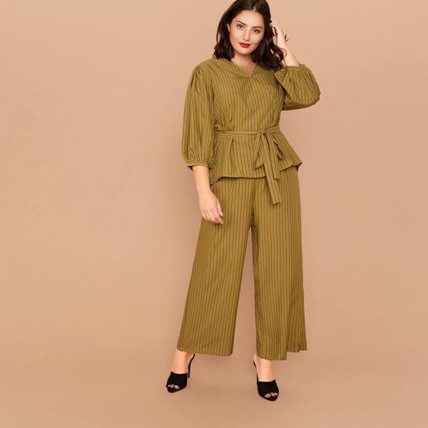 Plus Striped Belted Top & Wide Leg Pants Set