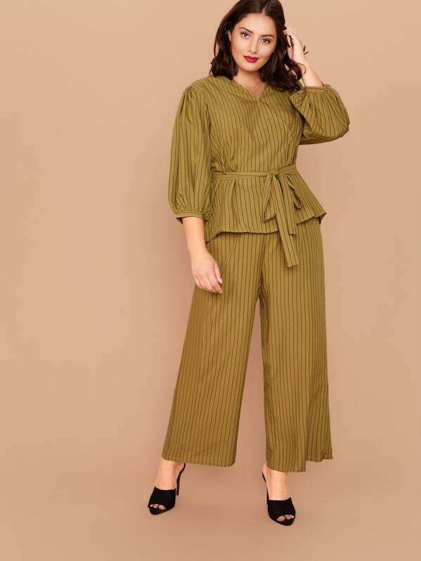 Plus Striped Belted Top & Wide Leg Pants Set, Marcelle Pallais