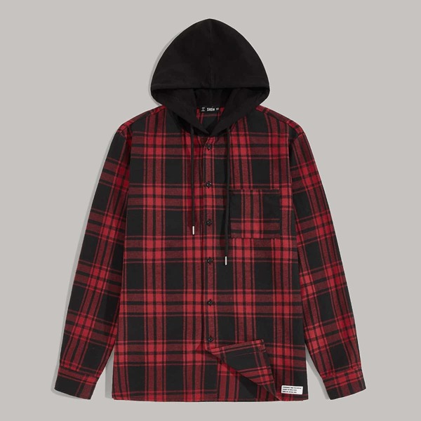 Men Pocket Patched Tartan Hooded Shirt, Red