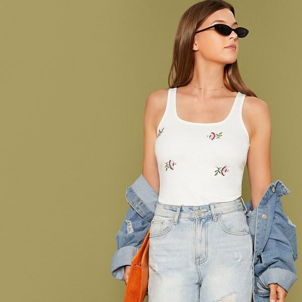 Embroidered Floral Detail Tank Top