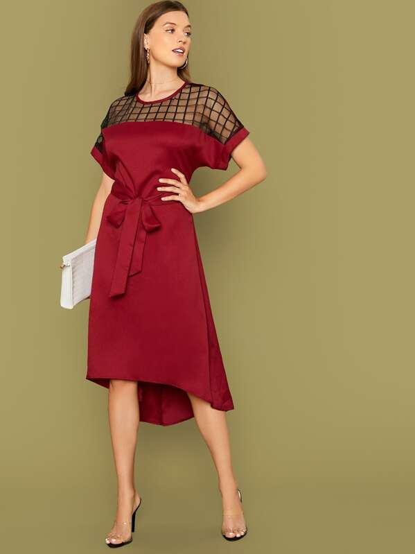 Grid Mesh Yoke High Low Belted Dress, Amanda Mondale