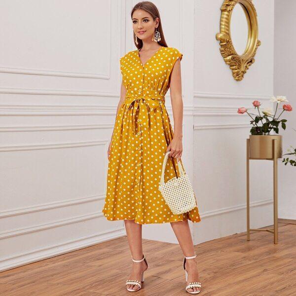 Polka Dot Button Through Belted Dress, Yellow